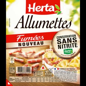 Allumettes de lardons fumées conservation sans nitrite HERTA, barquette sécable, 2x75g soit 150g