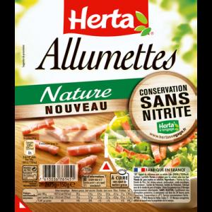 Allumettes de lardons nature conservation sans nitrite HERTA, barquette sécable, 2x75g soit 150g