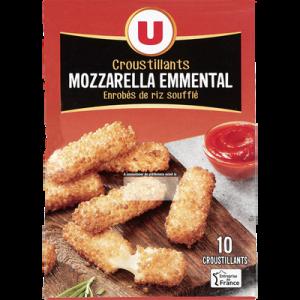 Bâtonnet croustillant à la mozzarella et à l'emmental U, 14% de MG, 10unités soit 180g