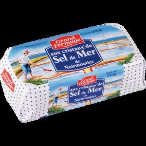 Beurre aux cristaux de sel de mer de Noirmoutier GRAND FERMAGE, 80% deMG, plaquette de 250g