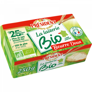 Beurre bio doux PRESIDENT, 82% de MG, 250g