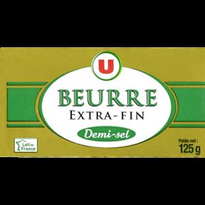 Beurre demi sel U, plaquette de 125g
