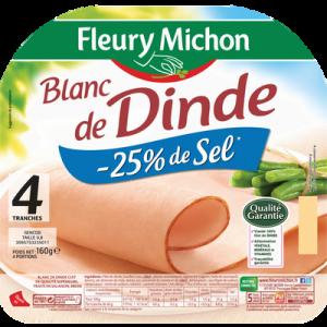 Blanc de dinde à teneur en sel réduit FLEURY MICHON, 4 tranches, 160g