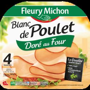 Blanc de poulet doré au four FLEURY MICHON, 4 tranches, 160g