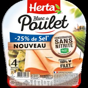Blanc de poulet sel réduit conservation sans nitrite HERTA, 4 tranchessoit 120g