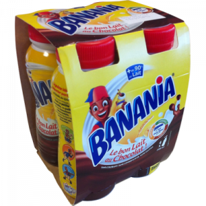 Boisson lactée chocolatée UHT BANANIA, 4 bouteilles de 20cl