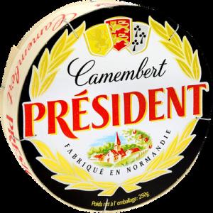 Camembert au lait pasteurisé PRÉSIDENT, 20% de MG, 250g