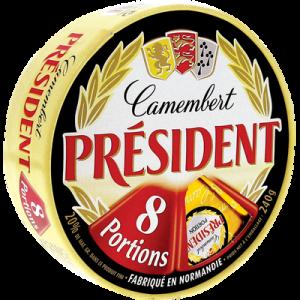 Camembert au lait pasteurisé PRESIDENT, 20%MG, 8 portions, 250g