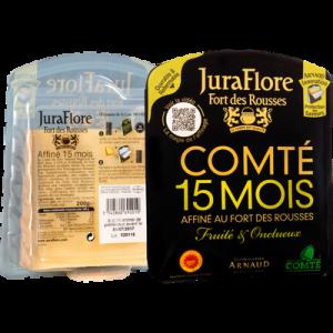 Comté AOP au lait cru affiné 15 mois JURAFLORE, 35% de MG, sachet de 200g