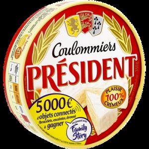 Coulommiers au lait pasteurisé PRESIDENT, 21%MG, 350g