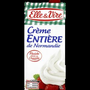 Crème entière de Normandie UHT ELLE & VIRE, 30% de MG, brique de 1 litre
