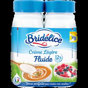 Crème fluide légère UHT, 12% de Matière grasse BRIDELICE, 2 bouteillesde 25cl