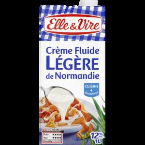 Crème légère de Normandie UHT ELLE&VIRE, 12%MG, 1l
