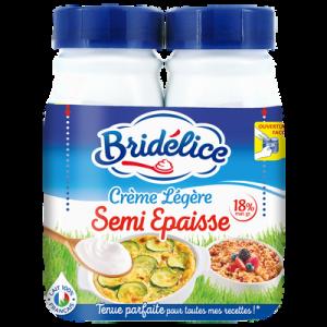 Crème légère semi épaisse UHT, 18%MG, BRIDELICE, 2 bouteilles de 25cl