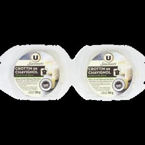 Crottin de Chavignol au lait cru AOP U SAVEURS, 2x60g