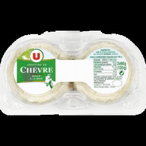 Crottins de chèvre au lait pasteurisé U, 25% de MG 2 pièces soit 120g
