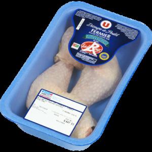 Cuisse de poulet fermier blanc d'Auvergne IGP, U, France, 2 pièces 520 g