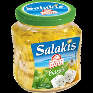 Dés de fromage de brebis au lait pasteurisé à l'huile et au basilic SALAKIS, 25,8% de MG, bocal de 300g