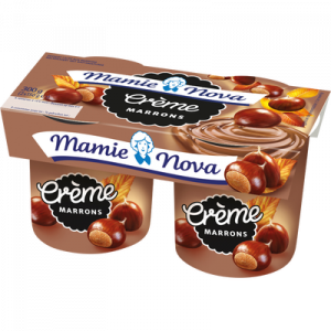 Dessert lacté crème de marrons Gourmand MAMIE NOVA, 2 pots de 150g
