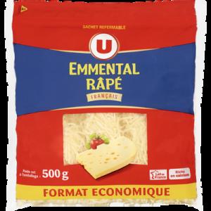 Emmental français au lait pasteurisé rapé, U, 29% de MG, zip de 500g