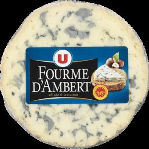 Fourme d'Ambert AOP au lait pasteurisé U, 26% de MG, 220g