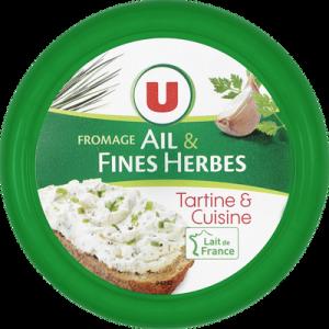 Fromage Ail et Fines Herbes au lait pasteurisé U, 24% de MG, 250g