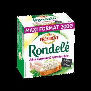 Fromage au lait pasteurisé RONDELE Ail et Fines Herbes, 32%MG, 200g