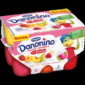 Fromage blanc sucré aux fruits panaché 2,10% de MG DANONINO, 12x50g