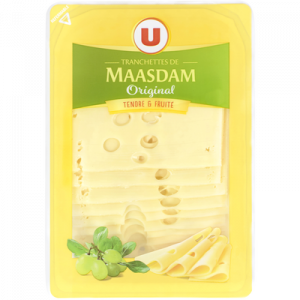 Fromage de Hollande à pâte pressée en tranches Maasdam Original au lait pasteurisé U, 27% MG, 200g