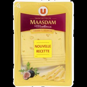 Fromage de Hollande à pâte pressée en tranches Maasdam moelleux au lait pasteurisé U, 30% de MG, 150g