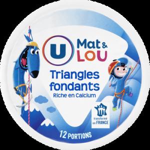 Fromage fondant pasteurisés en triangle U MAT&LOU, boite ronde de 12soit 200g