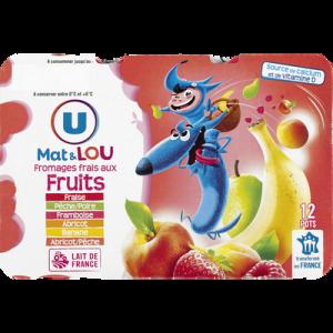 Fromage frais au lait pasteurisé sucré aux fruits U MAT & LOU, 2% deMG, 12x50G