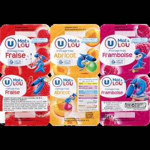 Fromage frais lait pasteurisé sucré aux fruits 2,9%MG U MAT & LOU,6x100g