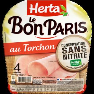 Jambon au torchon conservation sans nitrites Le Bon Paris HERTA, 4 tranches, 140g