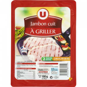 Jambon cuit à griller U, 2 tranches, 180g