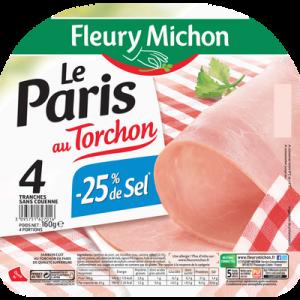 Jambon cuit au torchon à teneur réduite en sel Le Paris FLEURY MICHON,4 tranches, 160g
