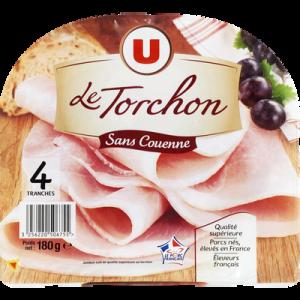 Jambon cuit au torchon découenné U, 4 tranches, 180g