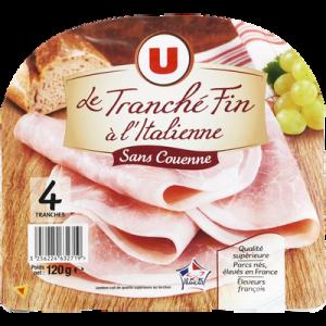 Jambon cuit supérieur au torchon SC U, 4 tranches fines à l'Italienne, 120g