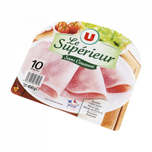 Jambon cuit supérieur sans couenne U, 10 tranches, 450g