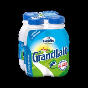 Lait UHT écrémé GRANDLAIT, 4 bouteilles de 50cl