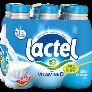 Lait demi-écrémé UHT LACTEL, bouteille 6x1 litre