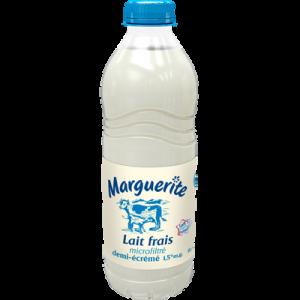 Lait frais demi-écrémé MARGUERITE, bouteille de 1 litre