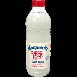 Lait frais entier MARGUERITE, bouteille de 1 litre