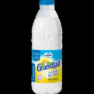 Lait frais léger et digeste demi-écrémé pasteurisé, sans lactose, GRAND LAIT, bouteille de 1 litre