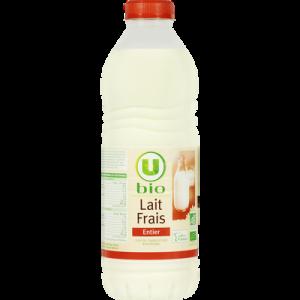 Lait frais microfiltre entier non standardisé U BIO, bouteille de 1 litre