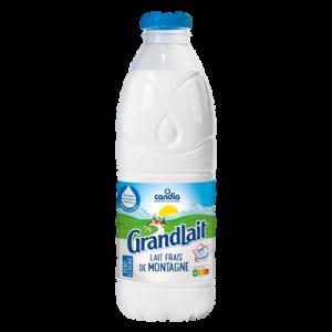 Lait frais pasteurisé de montagne écremé CANDIA, bouteille 1l