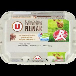 Oeufs de poules plein air Label Rouge calibre mixte bleu blanc coeur U, boite de 6