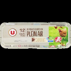 Oeufs poules plein air Label Rouge calibre mixte U, boîte de 12
