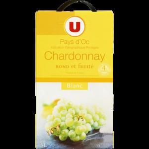 Vin blanc IGP Pays d'Oc Chardonnay U, fontaine à vin de 5 Litres