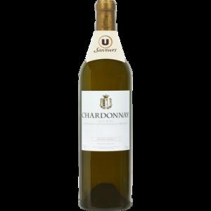 Vin blanc IGP Pays d'Oc Chardonnay grande réserve U SAVEURS, bouteillede 75cl